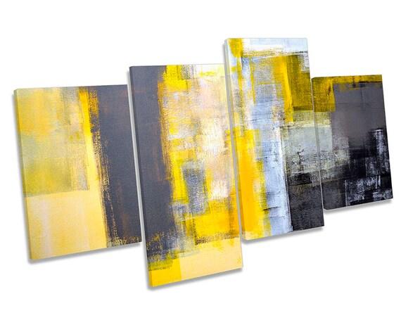 Blue Abstract Grey Minimalist TREBLE CANVAS WALL ARTWORK Print Art