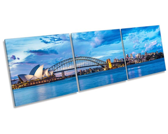 Australia Sydney Harbor Bridge Landscape Treble Canvas Wall Art Picture Print 1v