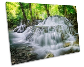 Waterfall Forest Green Picture CANVAS WALL ART Print