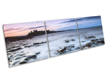 Sunset Dunstanburgh Castle Three Panel CANVAS WALL ART Box Frame Picture