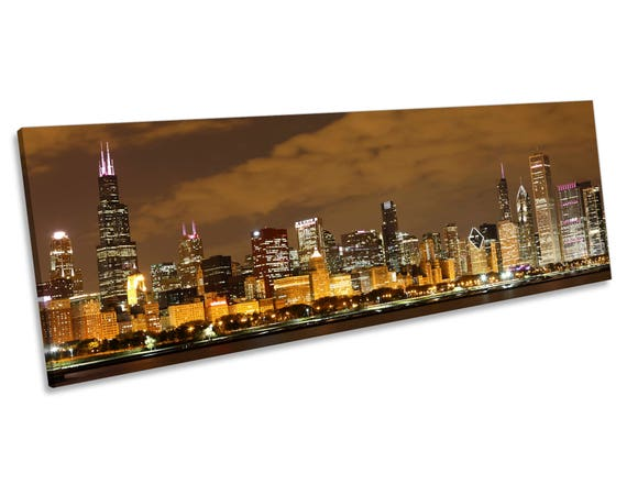 Chicago Cityscape Skyline Brown Panoramic CANVAS WALL ART