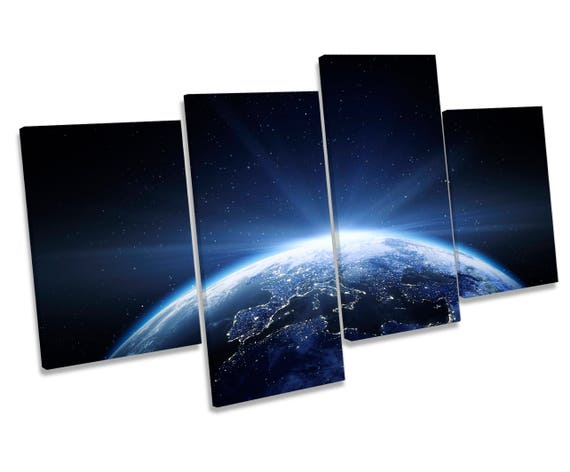 Astronomy Moon Space Planet Picture CANVAS WALL ART Four Panel