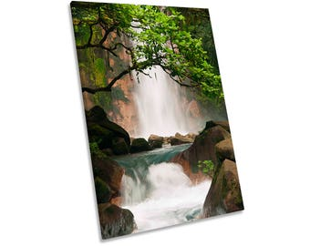 Waterfall Mountains Forest Landscape Framed CANVAS WALL ART Picture Print