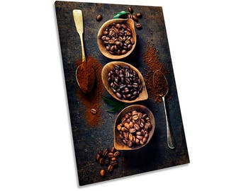 Coffee Bean Bowls Brown Print CANVAS WALL ART Picture Framed
