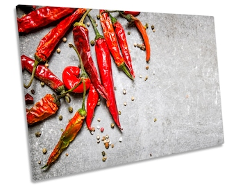 Red Chilli Peppers Kitchen Print CANVAS WALL ART Picture Framed
