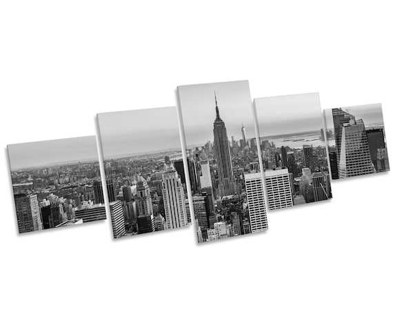 Sunset over New York City Skyline B&W Multi CANVAS WALL ART | Etsy