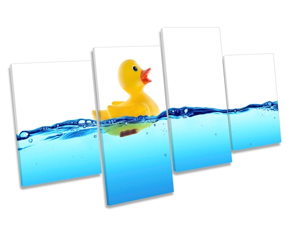 Rubber Duck Water Bathroom CANVAS WALL ART Four Panel Print