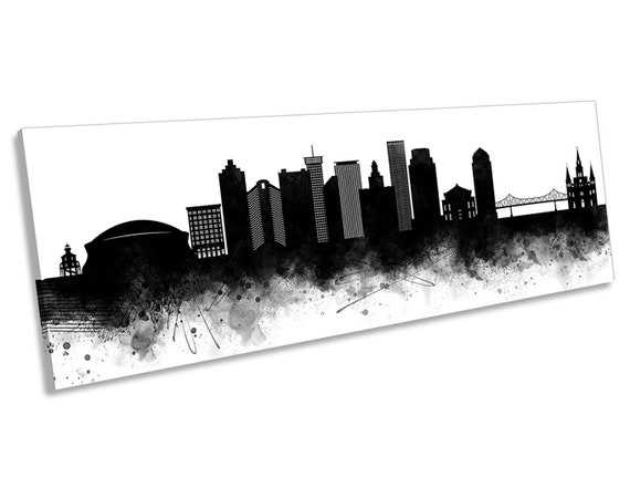 Panoramic Acrylic Wall Art Print New Orleans Skyline Colorful Reflections 36x12