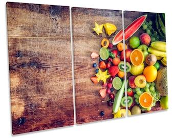 Fresh Fruit Kitchen CANVAS WALL ART Treble Box Frame Print