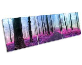 Purple Forest Misty CANVAS WALL ART Multi Three Panel Box Frame Print