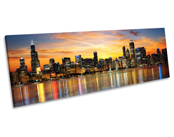 Chicago Illinois Sunset Skyline Canvas Wall Art Panoramic Etsy