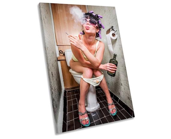 Urban Girl on toilet Smoking  MULTI CANVAS WALL ART Picture Print VA