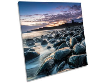 Dunstanburgh Castle Sunset Northumberland CANVAS WALL ART Square Print