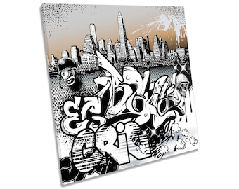 Urban Graffiti Characters City Picture CANVAS WALL ART Square Print