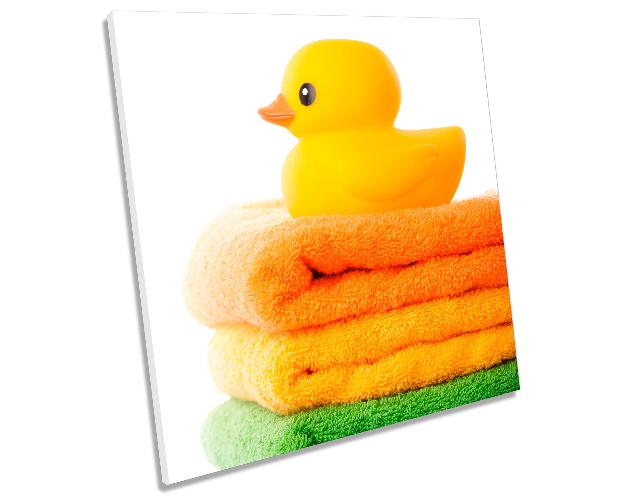 Rubber Duck Towels Bathroom CANVAS WALL ART Square Print | Etsy