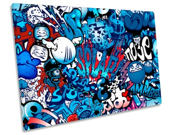 Urban Graffiti Characters Single CANVAS WALL ART Print Picture 280gsm