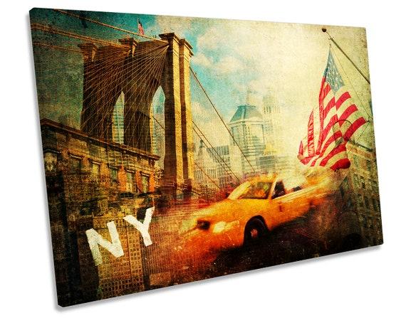 New York City Cab Bridge Canvas Wall Art Picture Canvas Art Cheap Print