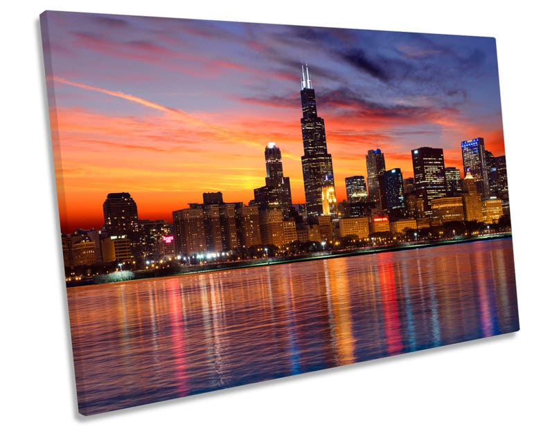 Chicago Skyline City Sunset Canvas Wall Art Framed Print Picture