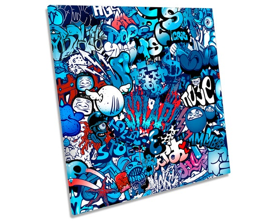 MUSIC DUDLE GRAFFITI DESIGN CANVAS PRINT PICTURE WALL ART FREE FAST UK DELIVERY
