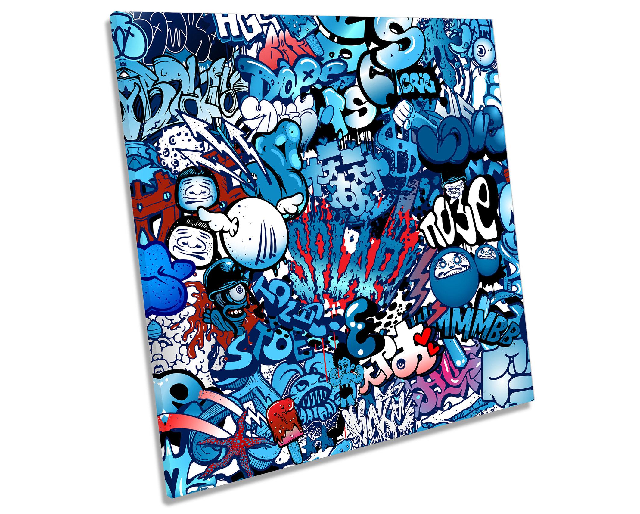 Urban Graffiti Characters Blue CANVAS WALL ART Square ...