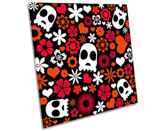Candy Skull Urban Graffiti Red CANVAS WALL ART Square Print