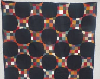 Primitive Checkers-Unfinished Quilt Top-Lap Quilt