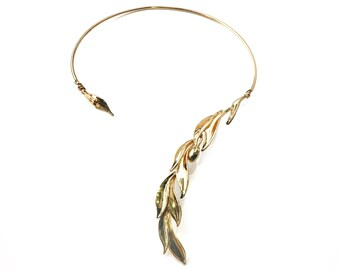 Gold Choker Open Collar Necklace, Olive Leaf Open Collar gift, Wedding Bridal Accessory, Gold cuff choker, Engagement jewelry present