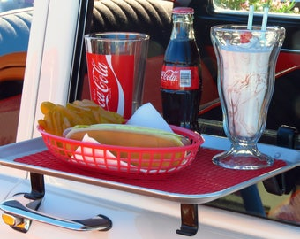 Vintage, Retro Car Hop Window Serving Tray with Food & Drink. - A Digital Download Image Only.