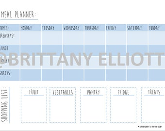 MEAL PLANNER and shopping list download