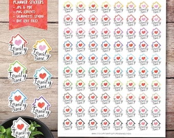 Family Time Printable Planner Stickers, Family Time Stickers, Erin Condren Planner Sticker, Cut File