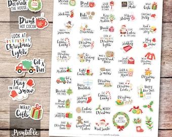 Christmas Bucket List Printable Planner Stickers, Watercolor Christmas Stickers, Christmas Printable Stickers, Cut File