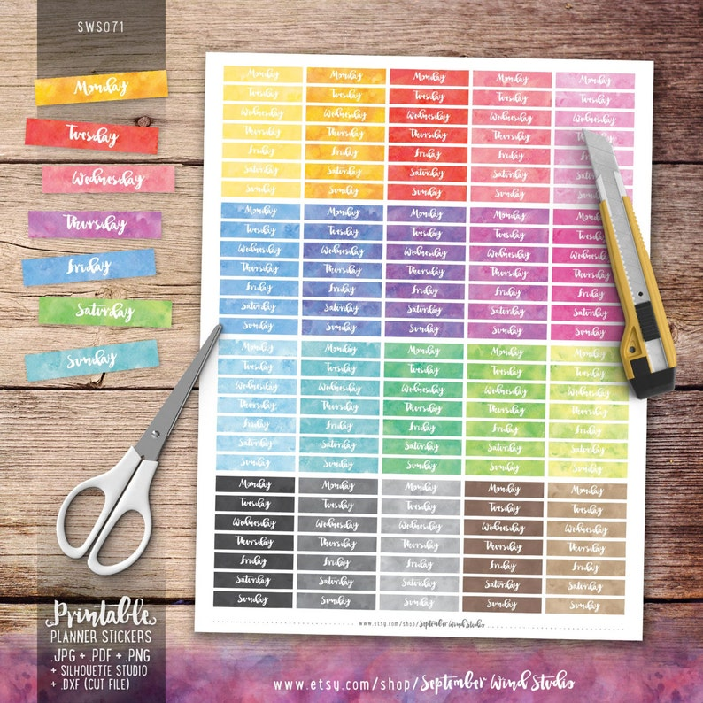 photo relating to Days of the Week Printable identified as Times of the 7 days Printable Planner Stickers, Day Include Stickers, Watercolor Stickers, Erin Condren Planner Stickers