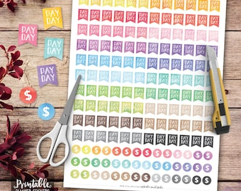 Payday Flag Printable Planner Stickers, Watercolor Payday Flag Stickers, Flag Stickers, Erin Condren Planner Stickers, Cut Files