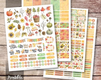 Fall Printable Planner Stickers, Fall Weekly Kit Printable Stickers, Watercolor Autumn Stickers, Fall Stickers, Printable Stickers, Cut File