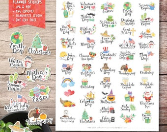 Yearly Holidays Printable Planner Stickers, Watercolor Stickers, Holiday Printable Stickers, Cut File