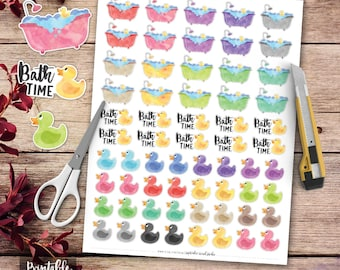 Bath Time Printable Planner Stickers, Scrapbooking, Printable Stickers, Rubber Duck Stickers, Bath Tub Stickers, Functional Stickers