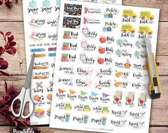 School Printable Planner Stickers, Watercolor School Stickers, Erin Condren Planner Stickers, Happy Planner