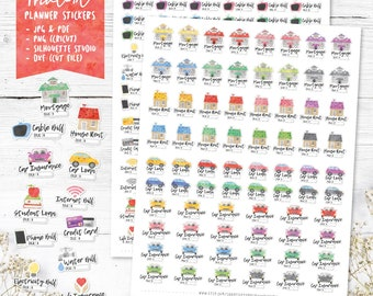 Payment Due Printable Planner Stickers, Watercolor Payment Stickers, Bill Stickers, Erin Condren Planner Stickers, Cut Files