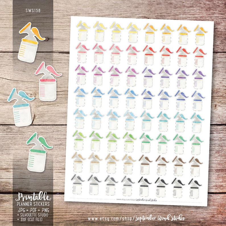 Breast Pump Printable Planner Stickers Watercolor Sticker image 0
