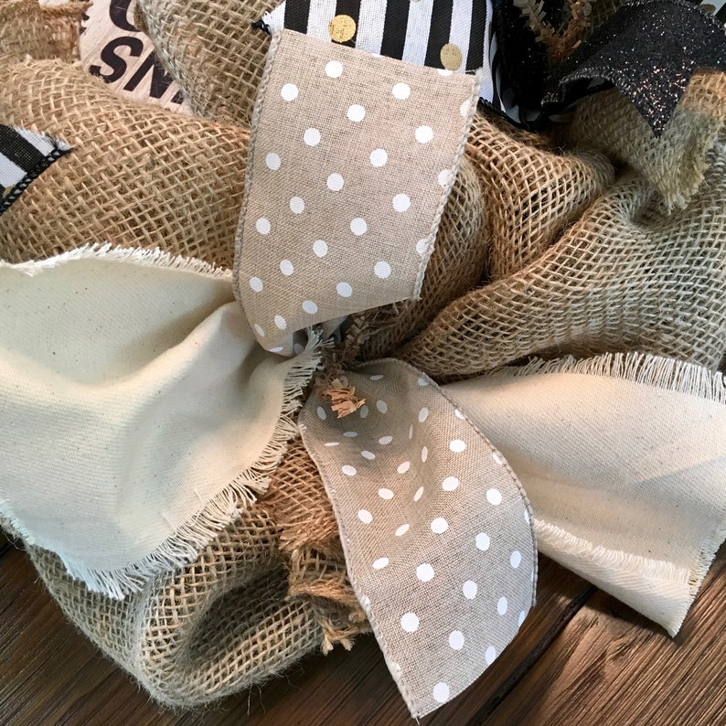 Magnolia Home Style Cotton Pick Accents Love Laughter and Whiskey Theme Farmhouse Burlap and Ribbon 26-inch Wreath
