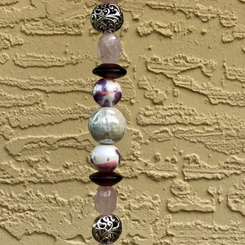 Bohemian Medallion Print Elephant Beaded Wind Chime featuring Lampworked Glass Rose Quartz Transparent Purple and Silver Beads w OM Bell