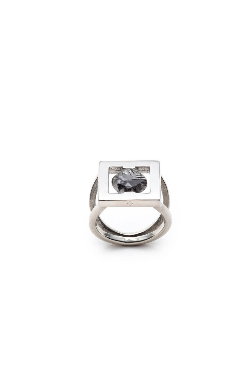 Rutilated quartz ring-Women large silver ring-Square ring-Minimalist geometric ring-Black stone ring-Simple gemstone ring-TALIA silver ring