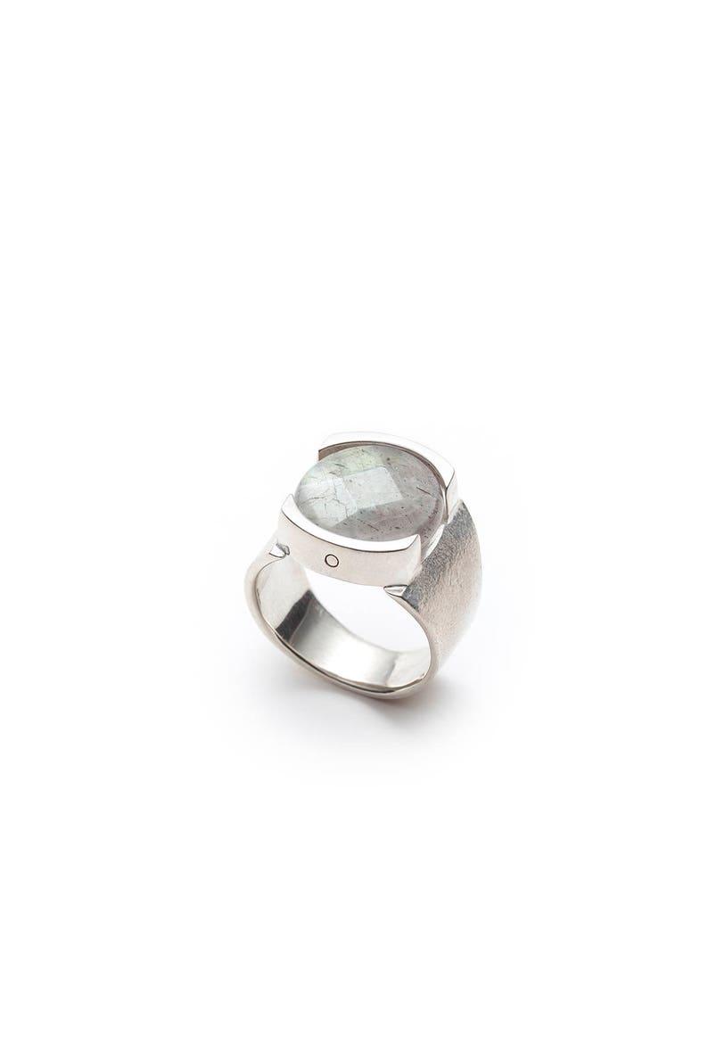 Silver labradorite wide ring-Women silver ring-Large silver ring-Large stone ring-Cuff ring-Statement ring-ADELE big silver ring