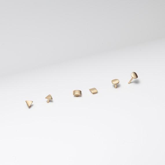 Mismatched Earrings Tiny Triangle Stud Earrings Triangle Earrings Mint and Gold Wood Earrings Geometric Earrings