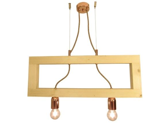 Wooden Modern Lamp Geometric Frame Pendant Ceiling Light Fixture Minimal Light Industrial Contemporary Chandelier Double Pendant