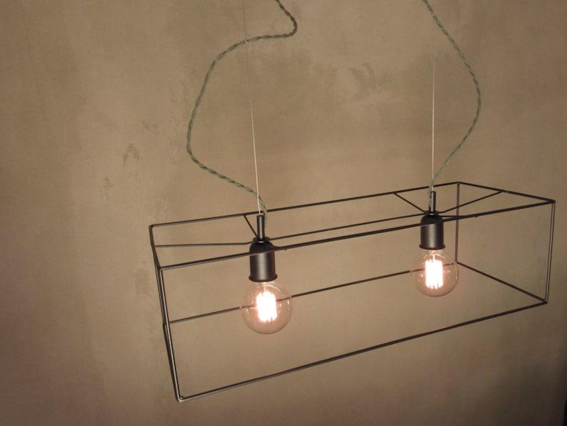 Modern Hanging Lamp Minimal Industrial Lamp Double Pendant Light Chandelier Lighting Geometric Pendant Light Vintage Ceiling Light