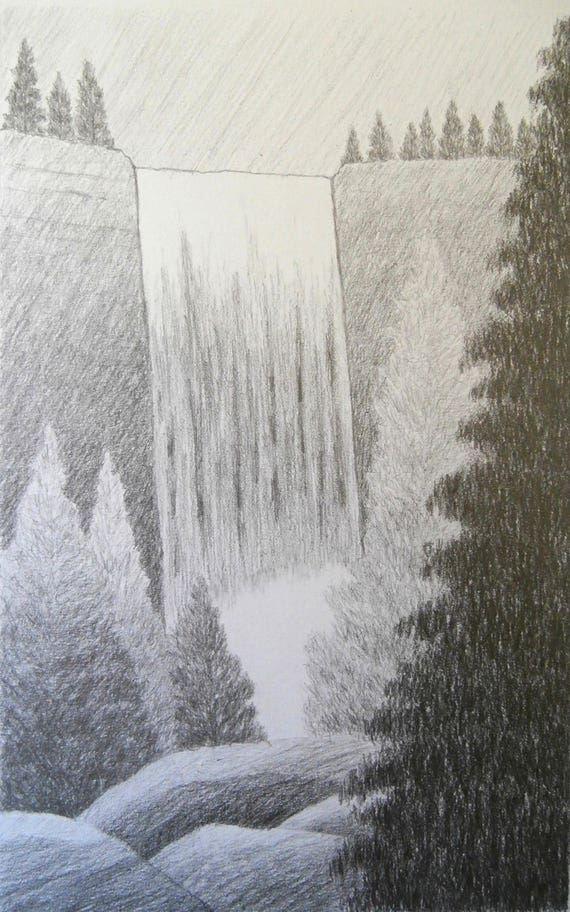 Waterfall Original Landscape Graphite Drawing Simple Etsy