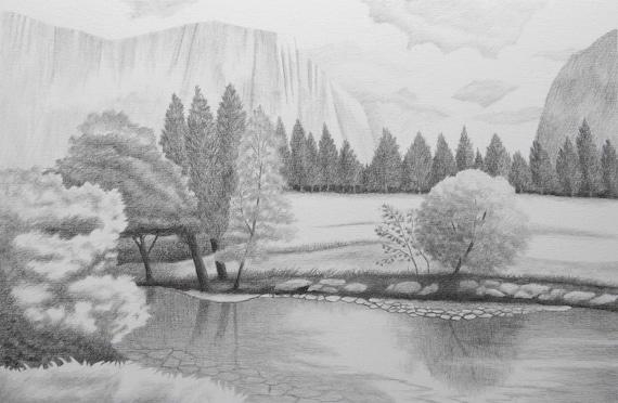 Mountain View Original Landscape Graphite Drawing Etsy