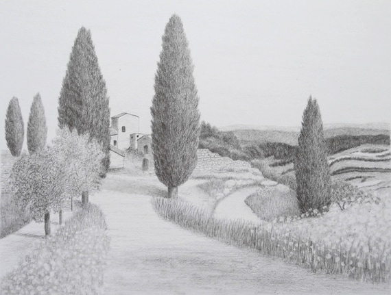 Tuscany Countryside Original Landscape Graphite Drawing