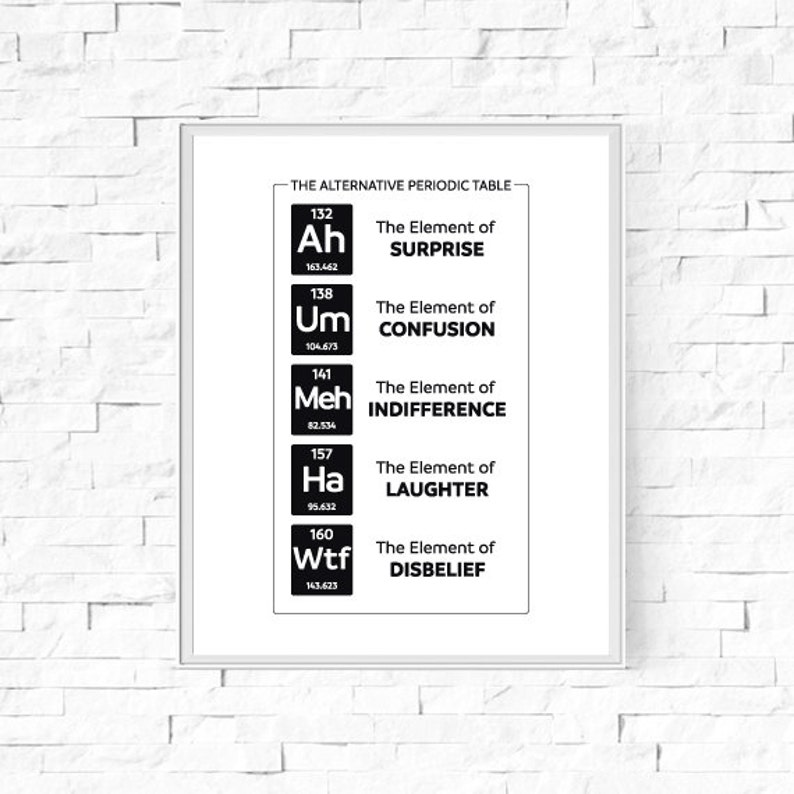graphic relating to Periodic Table Printable named Printable The Answer Periodic Desk Print - Black and White Print - Geek Nerd Science Poster - Design and style Print - Wall Artwork - 8\